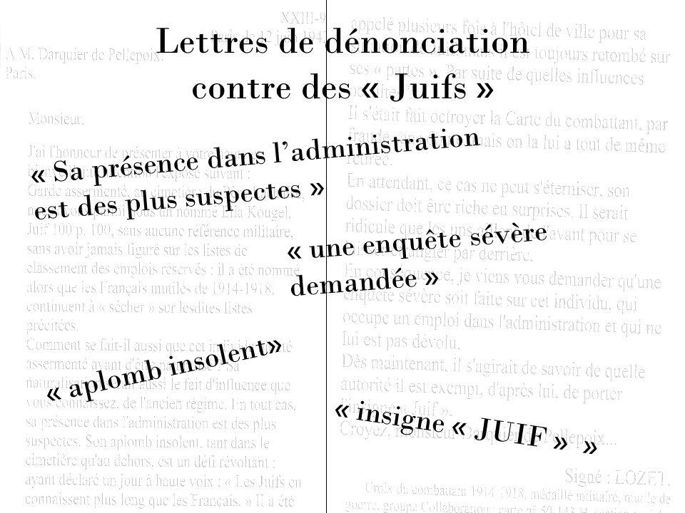 Lettres de dénonciation contre des « Juifs »