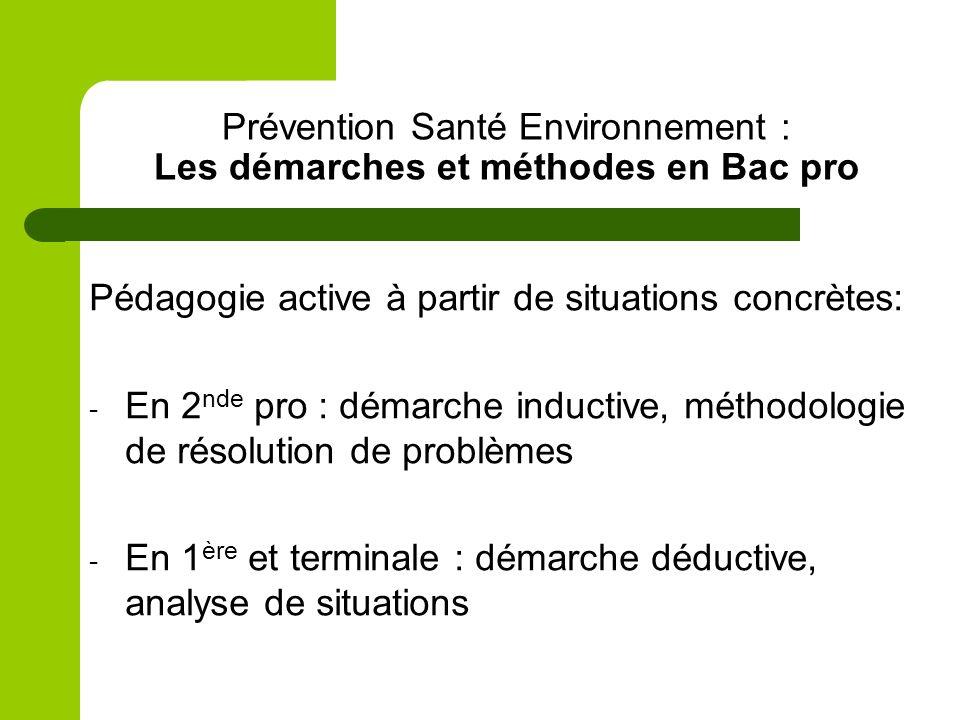Prévention Santé Environnement : Les démarches et méthodes en Bac pro