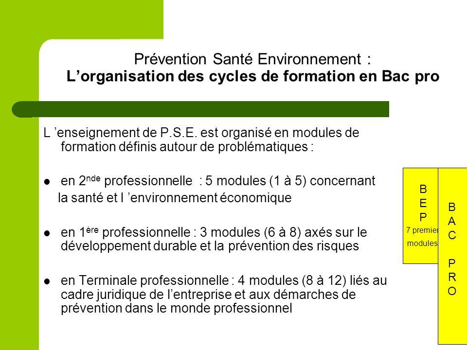 Prévention Santé Environnement : L'organisation des cycles de formation en Bac pro