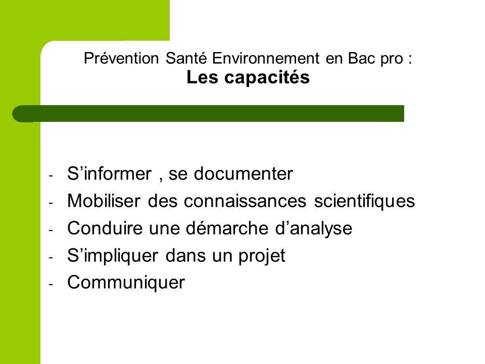Prévention Santé Environnement en Bac pro : Les capacités