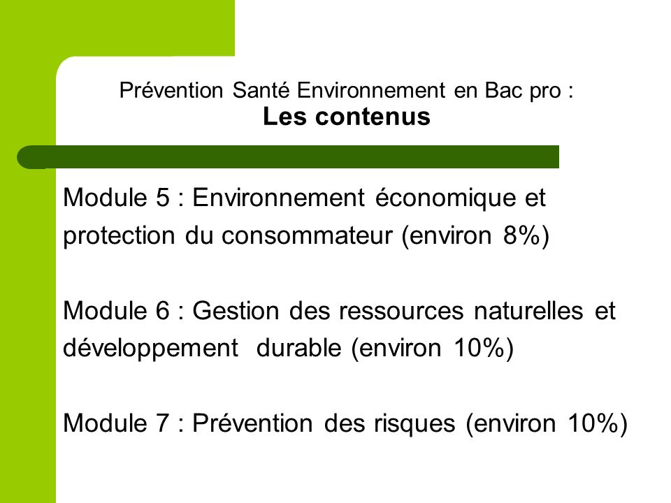 Prévention Santé Environnement en Bac pro : Les contenus