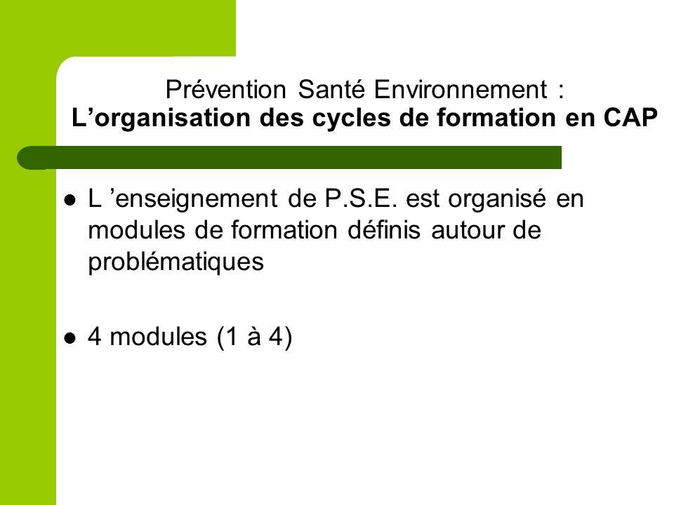 Prévention Santé Environnement : L'organisation des cycles de formation en CAP