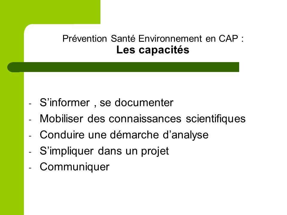 Prévention Santé Environnement en CAP : Les capacités
