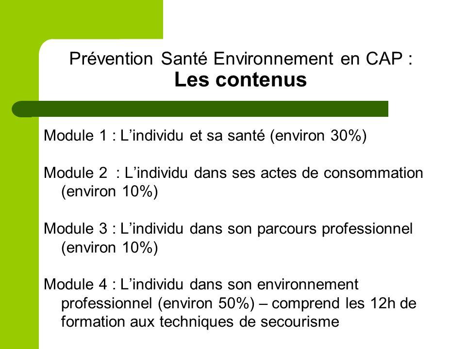Prévention Santé Environnement en CAP : Les contenus