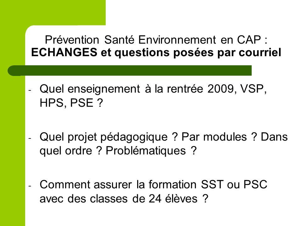 Prévention Santé Environnement en CAP : ECHANGES et questions posées par courriel
