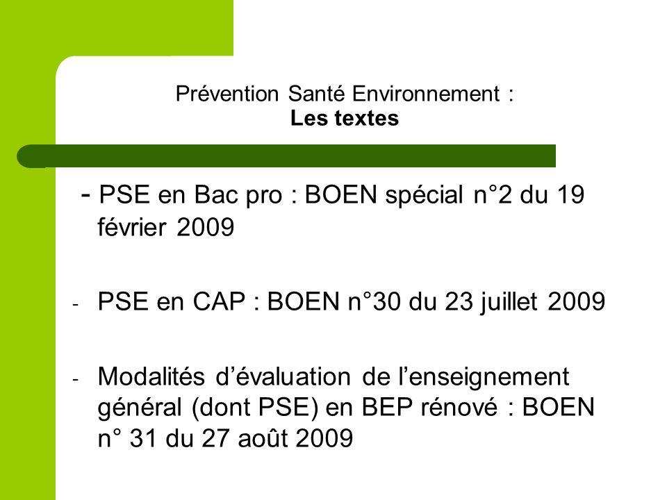 Prévention Santé Environnement : Les textes