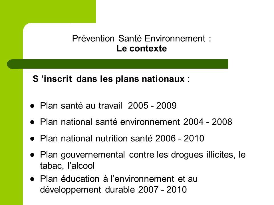 Prévention Santé Environnement : Le contexte