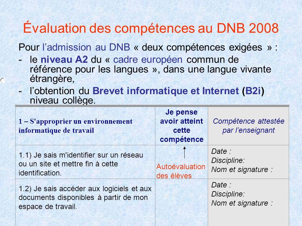 Évaluation des compétences au DNB 2008
