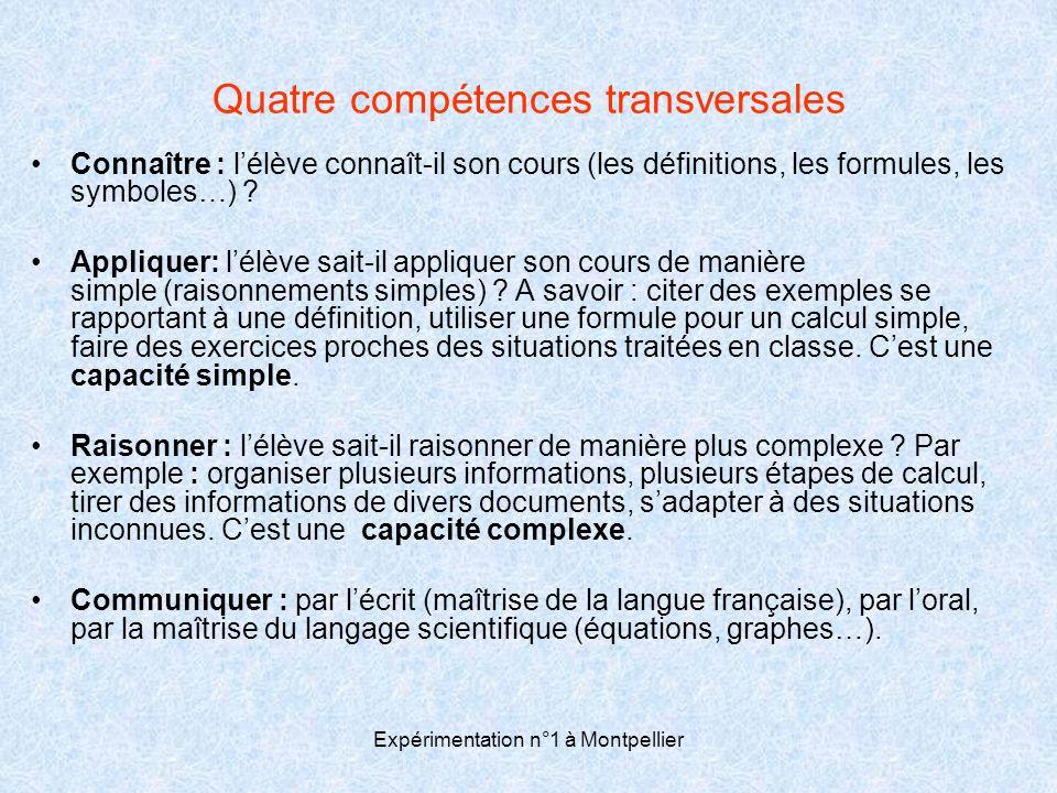 Quatre compétences transversales