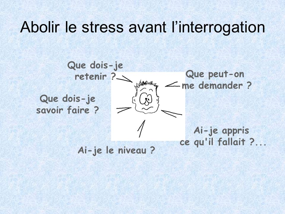 Abolir le stress avant l'interrogation