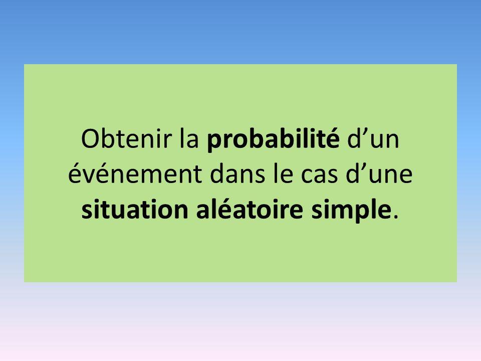 Obtenir la probabilité d'un événement dans le cas d'une situation aléatoire simple.