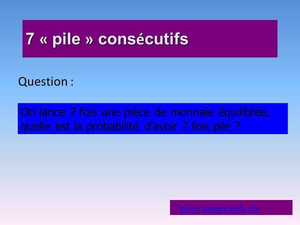 7 « pile » consécutifs Question :