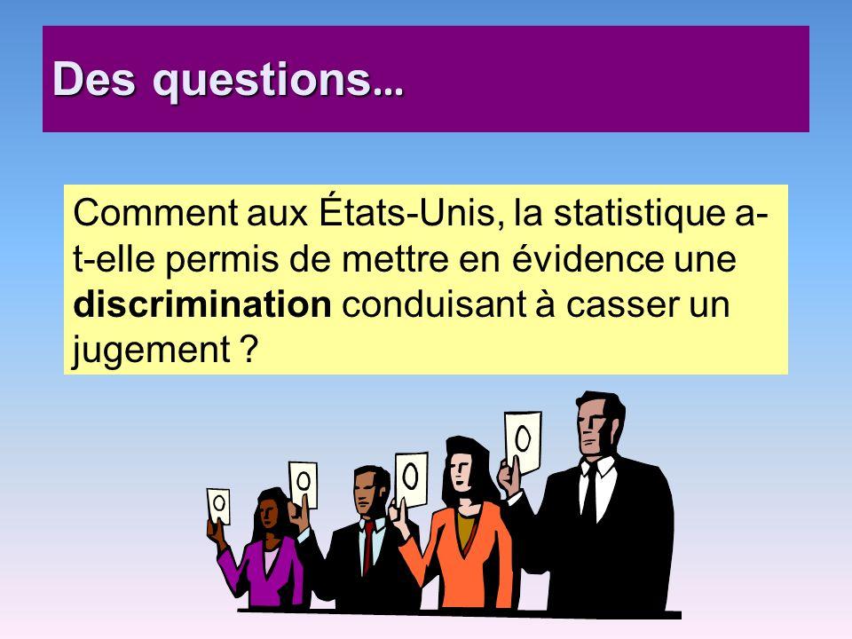 Des questions… Comment aux États-Unis, la statistique a-t-elle permis de mettre en évidence une discrimination conduisant à casser un jugement
