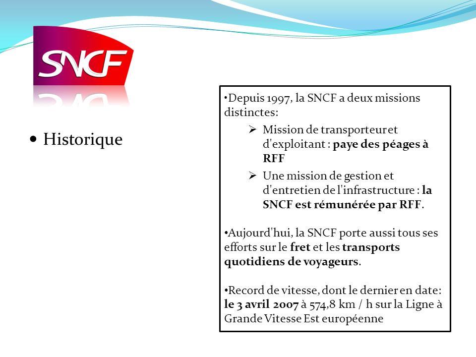 Historique Depuis 1997, la SNCF a deux missions distinctes: