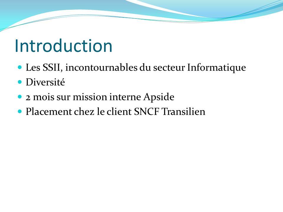 Introduction Les SSII, incontournables du secteur Informatique