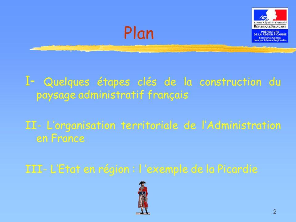 Plan I- Quelques étapes clés de la construction du paysage administratif français. II- L'organisation territoriale de l'Administration en France.