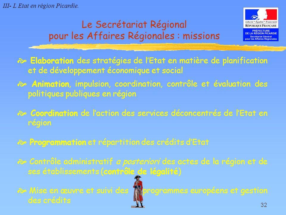 Le Secrétariat Régional pour les Affaires Régionales : missions
