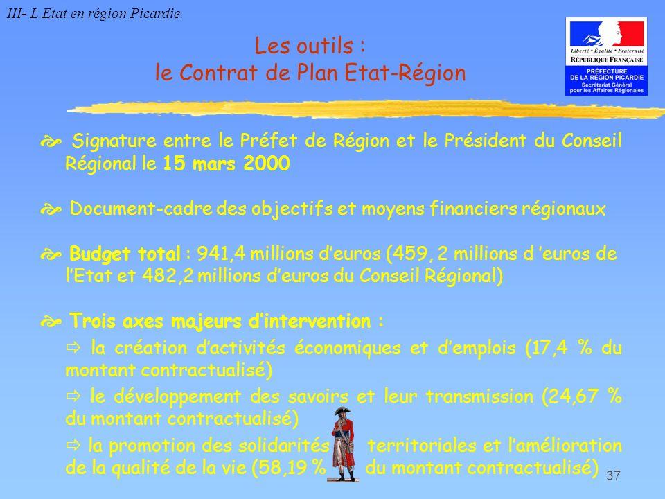 Les outils : le Contrat de Plan Etat-Région