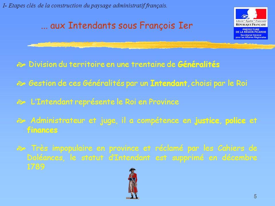 ... aux Intendants sous François Ier