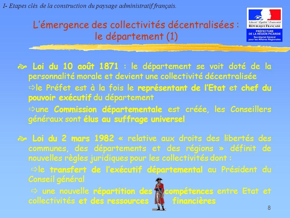 L'émergence des collectivités décentralisées : le département (1)
