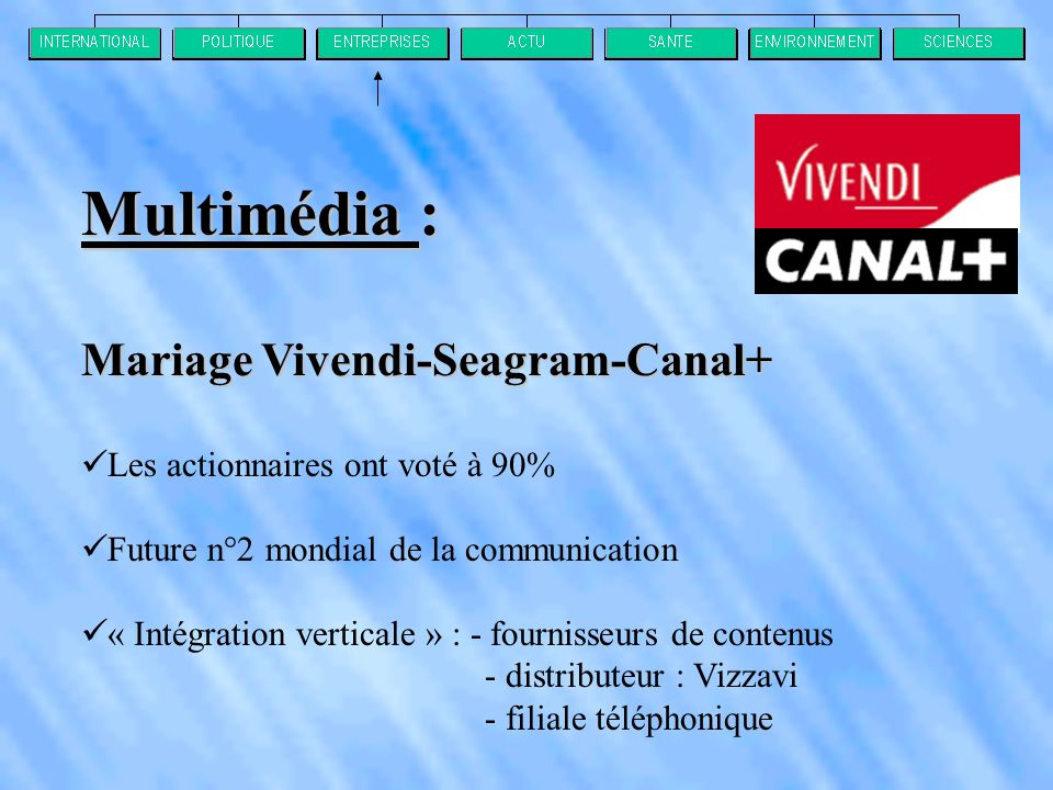 Multimédia : Mariage Vivendi-Seagram-Canal+