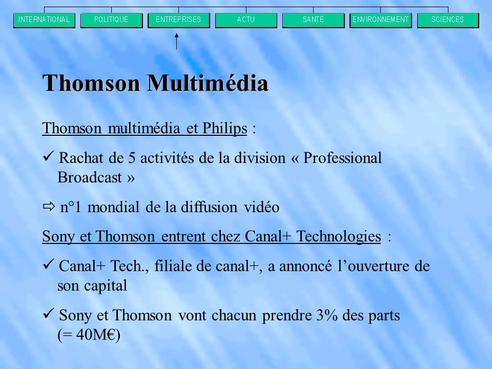 Thomson Multimédia Thomson multimédia et Philips :
