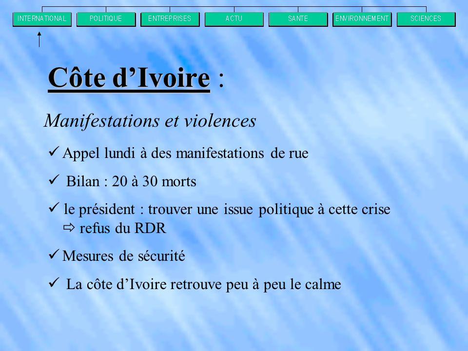 Côte d'Ivoire : Manifestations et violences