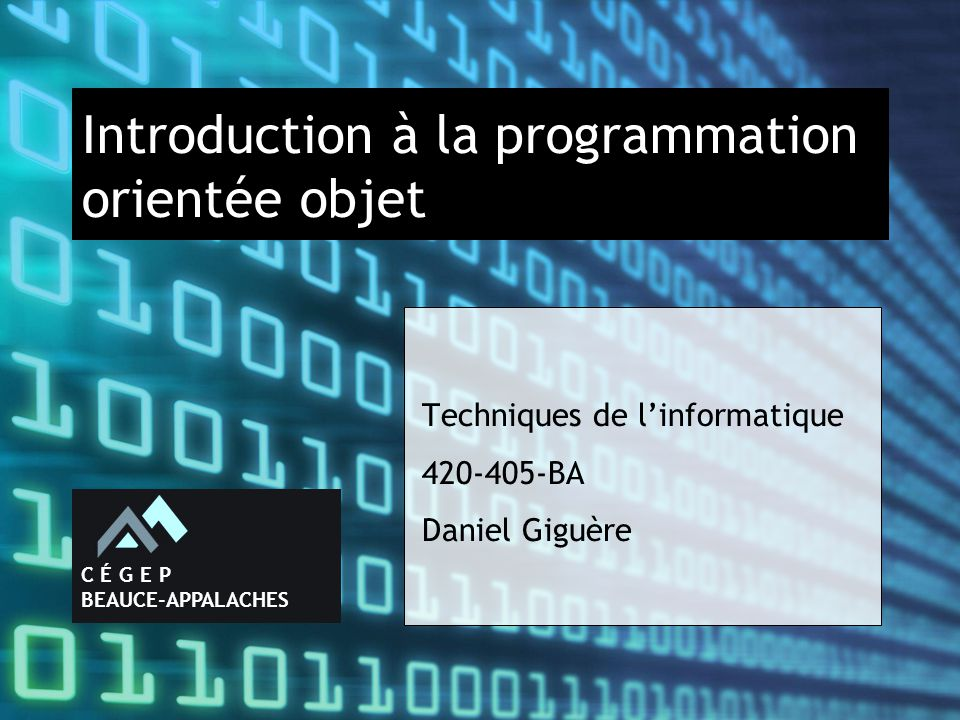 Introduction à la programmation orientée objet