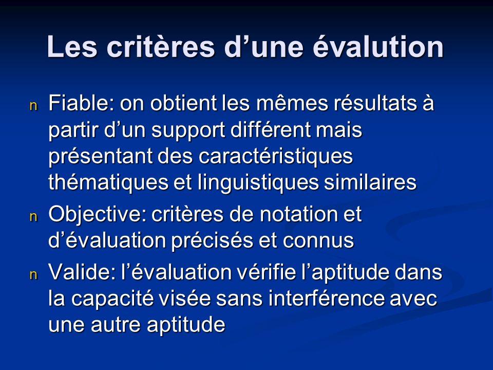 Les critères d'une évalution