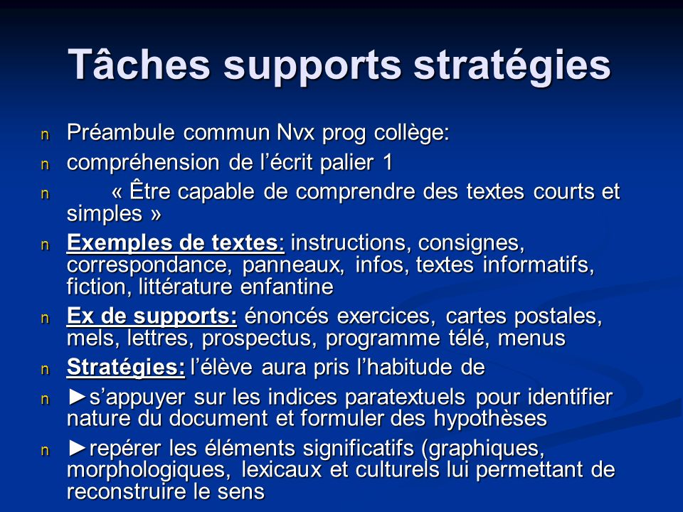 Tâches supports stratégies