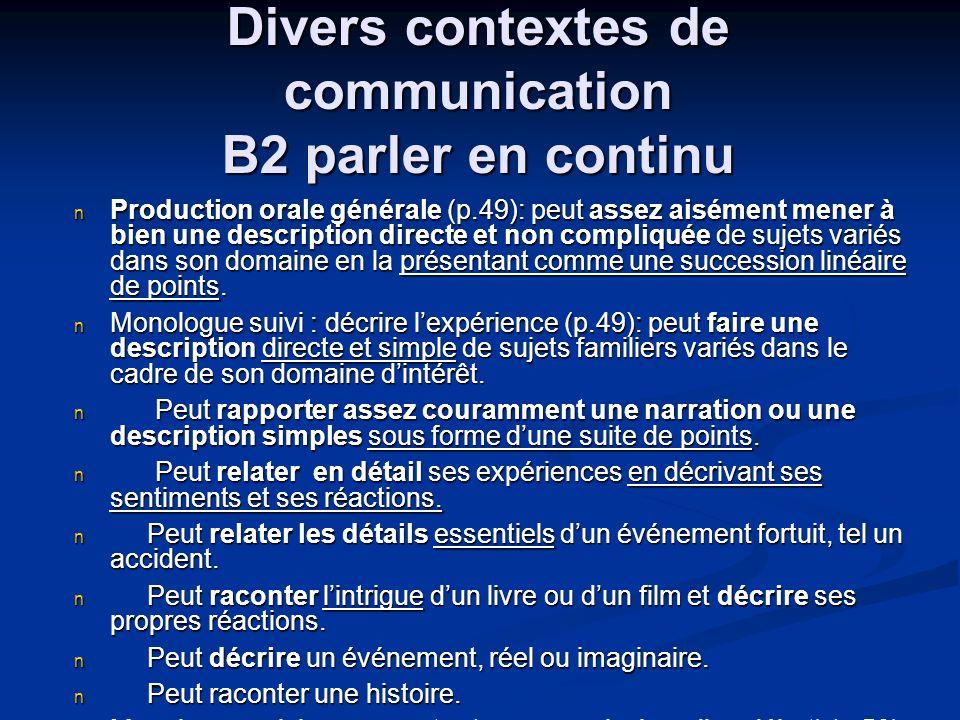 Divers contextes de communication B2 parler en continu