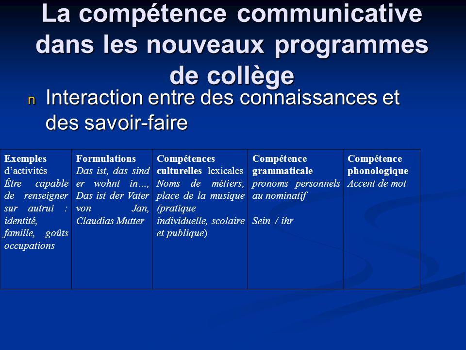 La compétence communicative dans les nouveaux programmes de collège