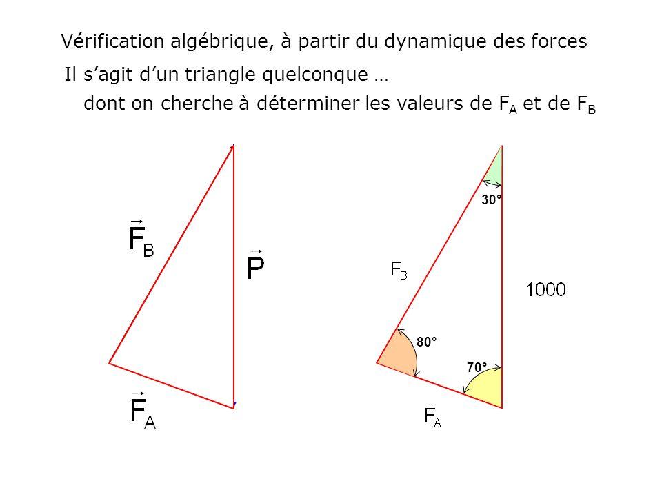 Vérification algébrique, à partir du dynamique des forces