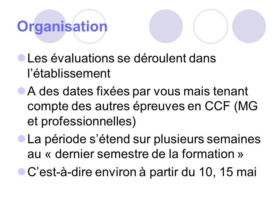 Organisation Les évaluations se déroulent dans l'établissement