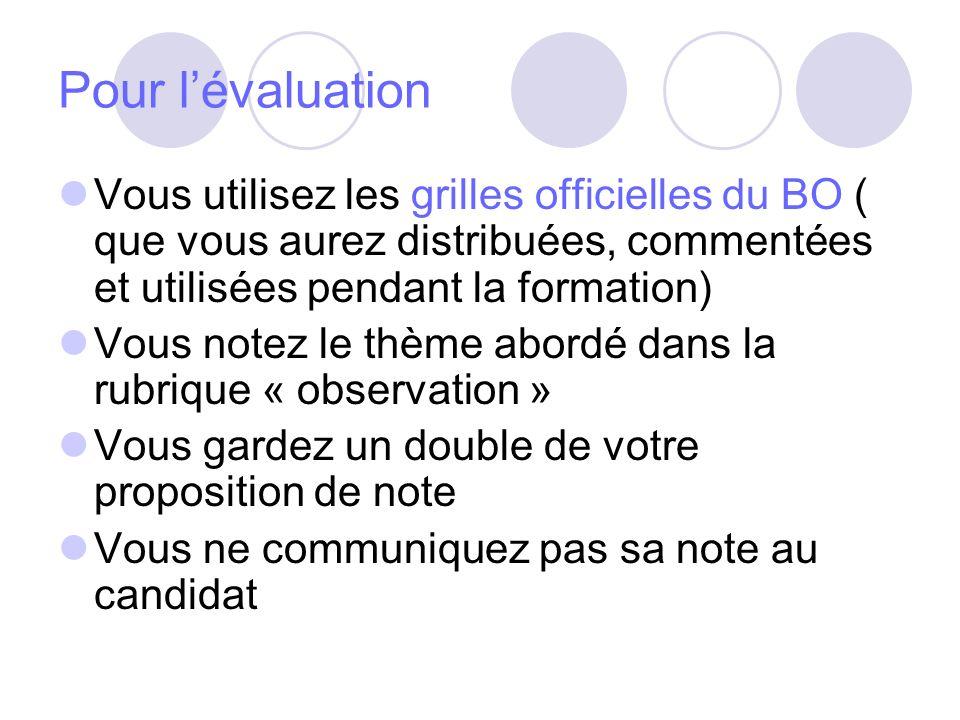 Pour l'évaluation Vous utilisez les grilles officielles du BO ( que vous aurez distribuées, commentées et utilisées pendant la formation)