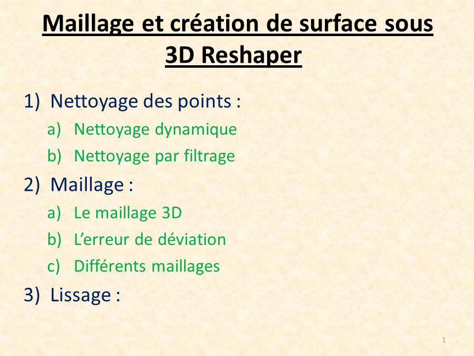 Maillage et création de surface sous 3D Reshaper