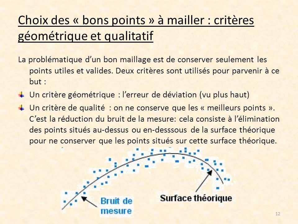 Choix des « bons points » à mailler : critères géométrique et qualitatif