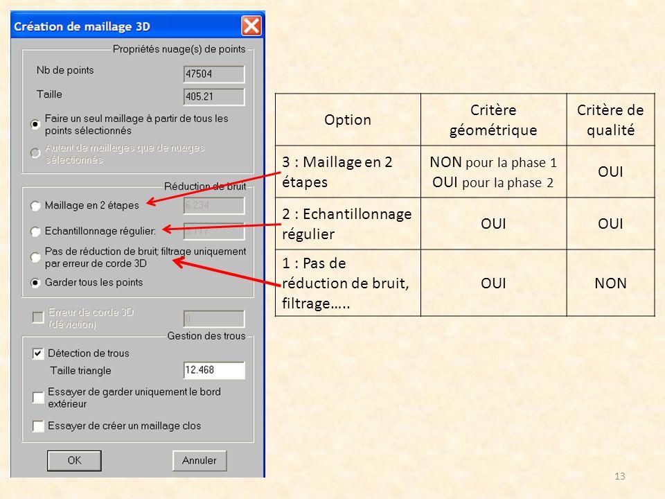 Option Critère géométrique. Critère de qualité. 3 : Maillage en 2 étapes. NON pour la phase 1. OUI pour la phase 2.