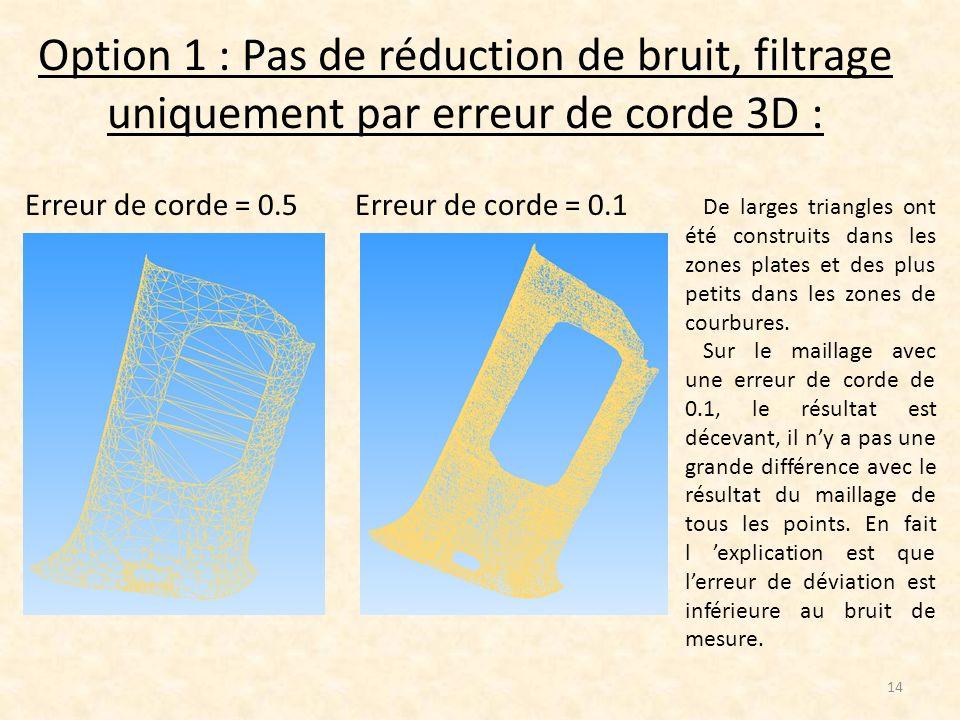 Option 1 : Pas de réduction de bruit, filtrage uniquement par erreur de corde 3D :