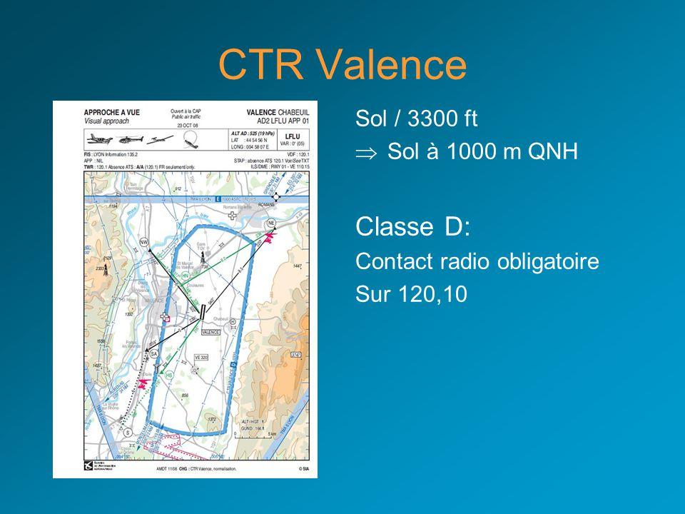 CTR Valence Classe D: Sol / 3300 ft Sol à 1000 m QNH