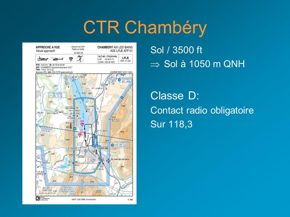 CTR Chambéry Classe D: Sol / 3500 ft Sol à 1050 m QNH
