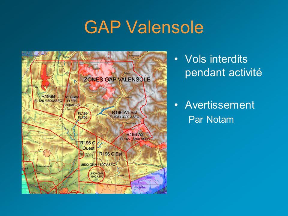 GAP Valensole Vols interdits pendant activité Avertissement Par Notam