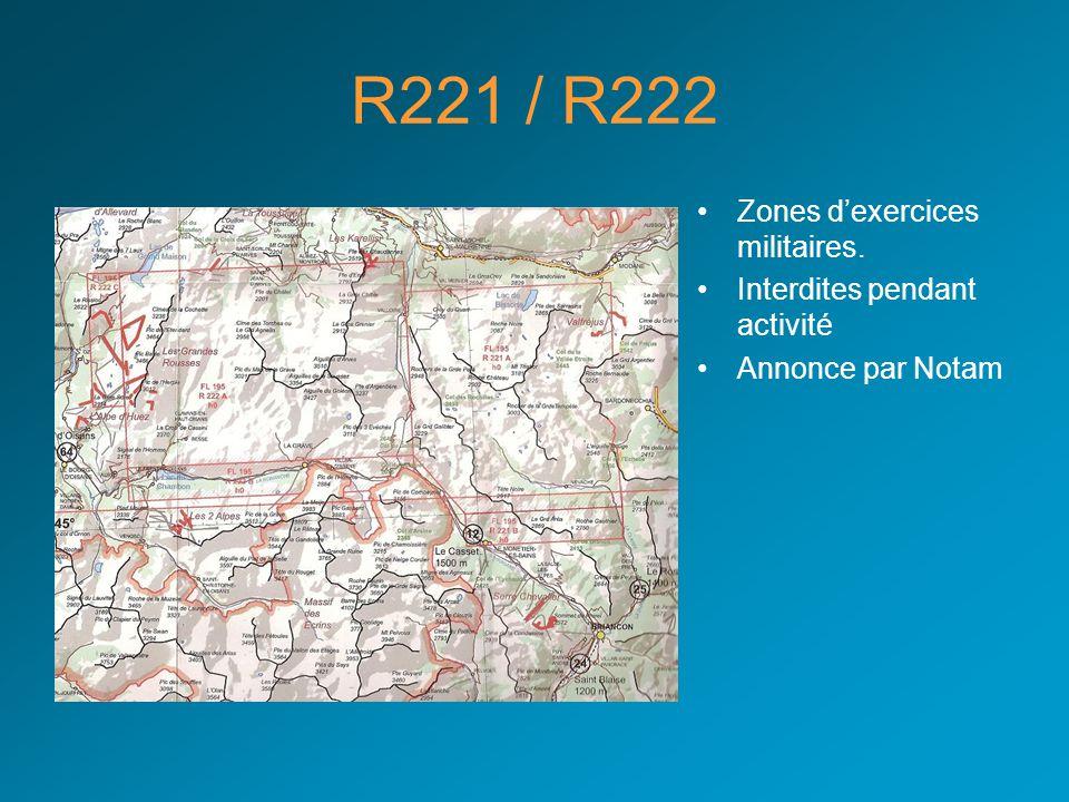 R221 / R222 Zones d'exercices militaires. Interdites pendant activité