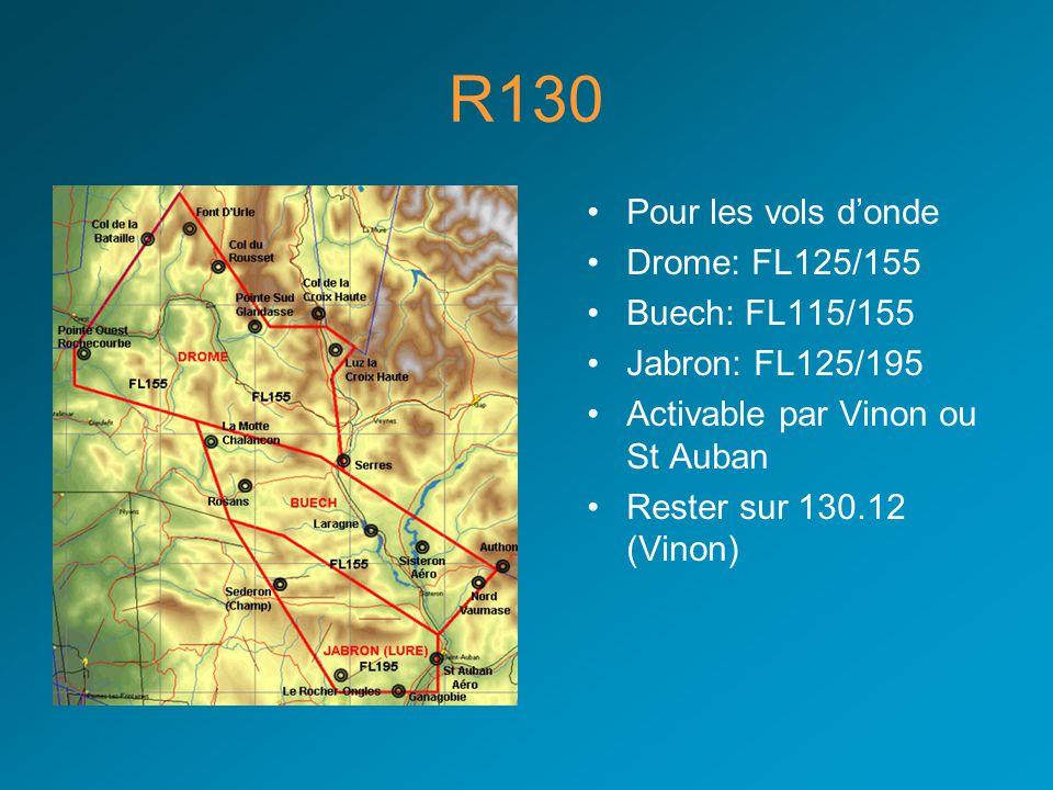 R130 Pour les vols d'onde Drome: FL125/155 Buech: FL115/155