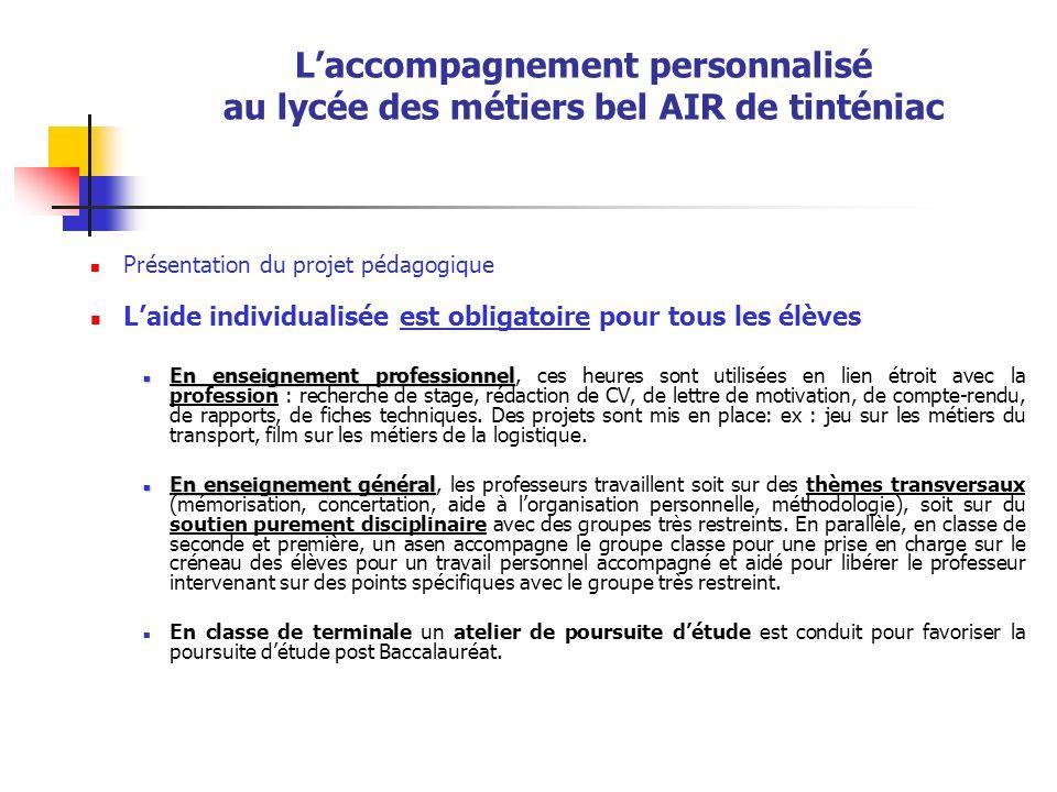 L'accompagnement personnalisé au lycée des métiers bel AIR de tinténiac