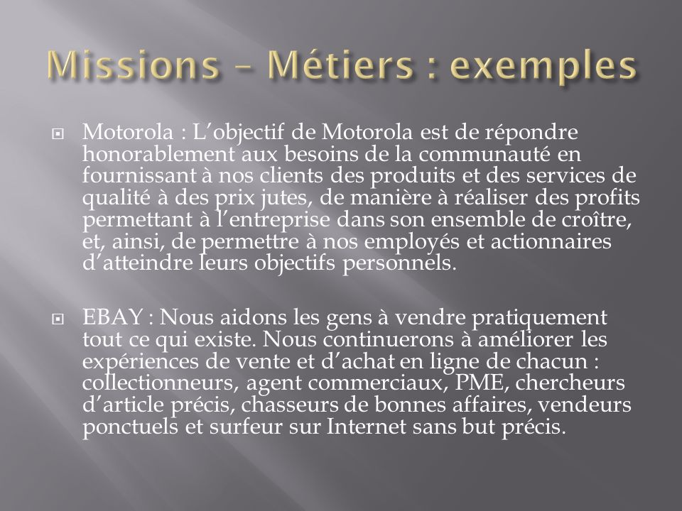 Missions – Métiers : exemples