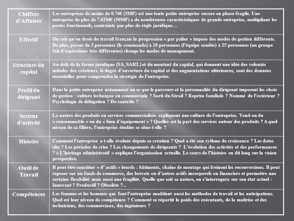 Chiffres d'Affaires Effectif Structure du capital Profil du dirigeant