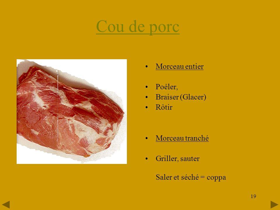 Cou de porc Morceau entier Poêler, Braiser (Glacer) Rôtir