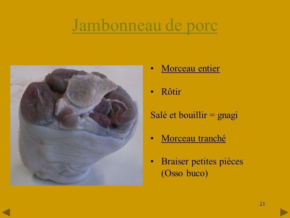 Jambonneau de porc Morceau entier Rôtir Salé et bouillir = gnagi