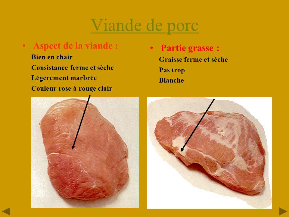 Viande de porc Aspect de la viande : Partie grasse : Bien en chair